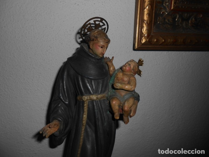 SAN ANTONIO CON EL NIÑO TALLA DE MADERA (Arte - Arte Religioso - Escultura)