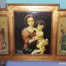 Arte: IMPORTANTE RETABLO PINTADO AL OLEO SOBRE TABLA IMAGEN DE LA VIRGEN MARIA CON JESUS Y ANGELES. Lote 176236638