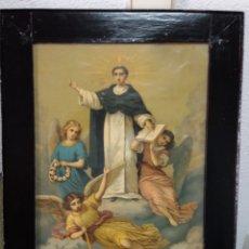 Art: CUADRO CON LITOGRAFIA COLOR, SIGLO XIX, SANTO DOMINGO DE GUZMAN, PATRON DE INGENIEROS. Lote 176261044