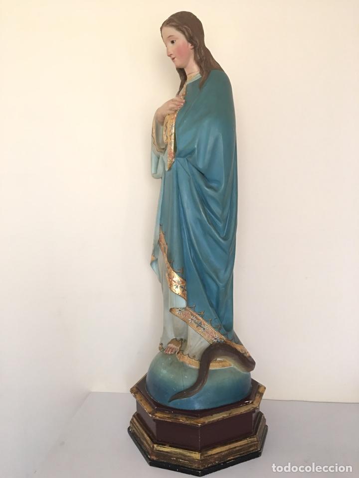 Arte: ANTIGUA TALLA DE MADERA - VIRGEN PURÍSIMA - FINALES DEL SIGLO XIX - GRAN TAMAÑO - Foto 9 - 176284013