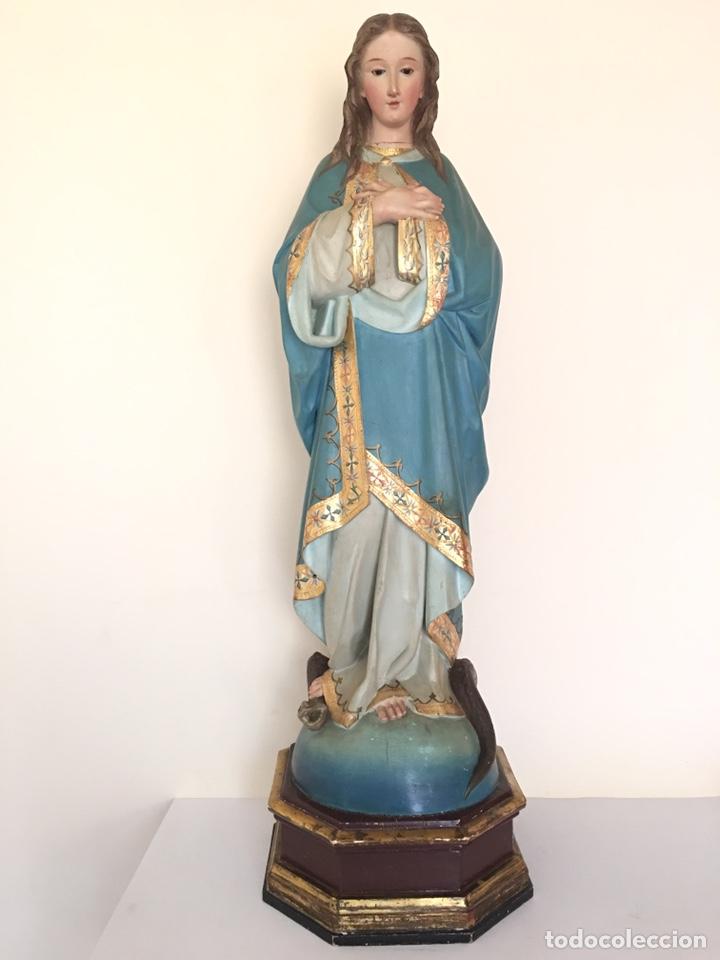 ANTIGUA TALLA DE MADERA - VIRGEN PURÍSIMA - FINALES DEL SIGLO XIX - GRAN TAMAÑO (Arte - Arte Religioso - Escultura)