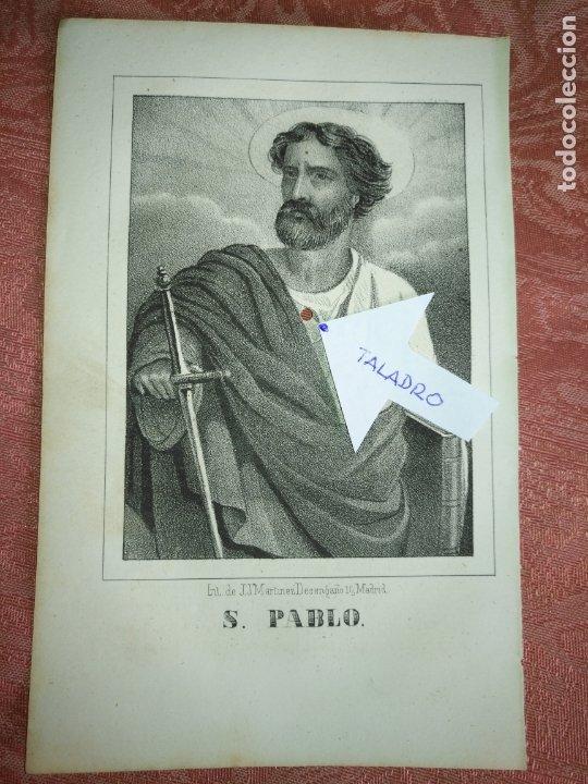 GRABADO ORIGINAL RELIGIOSO DEL AÑO 1857 - LIT. DE J.J. MARTINEZ DESENGAÑO 10 MADRID - SAN PABLO (Arte - Arte Religioso - Grabados)