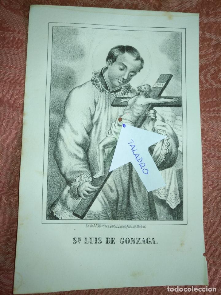 GRABADO ORIGINAL RELIGIOSO DEL AÑO 1857 - LIT. DE J.J. MARTINEZ DESENGAÑO 10 MADRID SAN LUIS GONZAGA (Arte - Arte Religioso - Grabados)