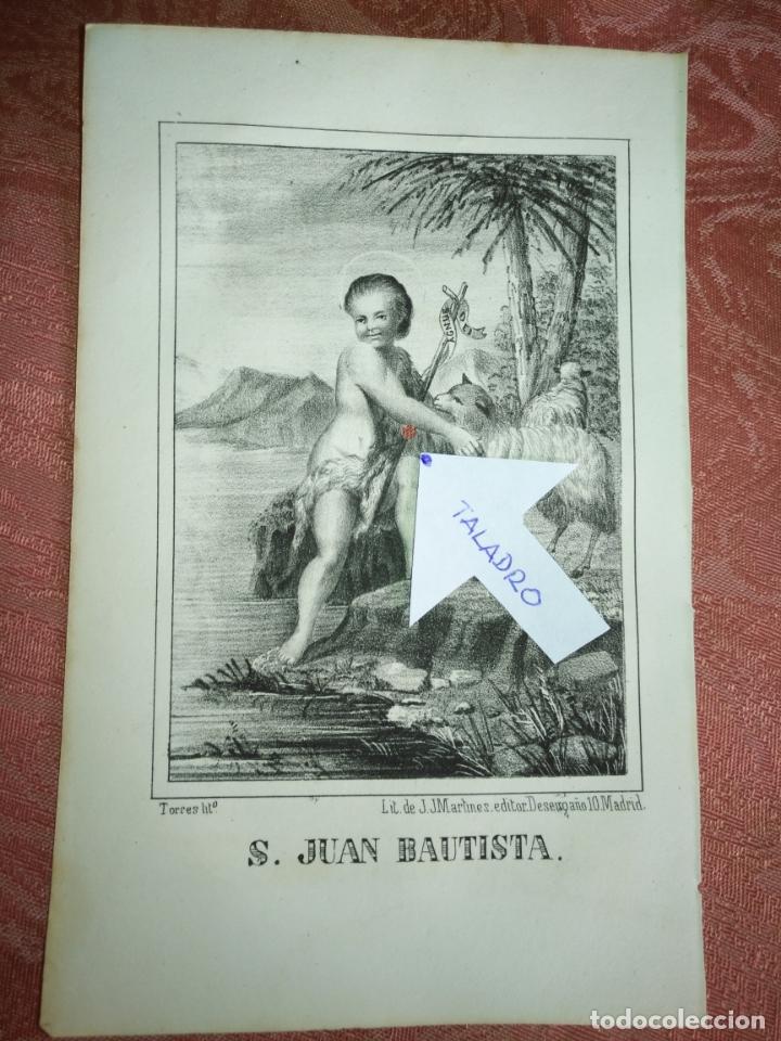 GRABADO ORIGINAL RELIGIOSO DEL AÑO 1857 - LIT. DE J.J. MARTINEZ DESENGAÑO 10 MADRID SAN JUAN BAUTIST (Arte - Arte Religioso - Grabados)