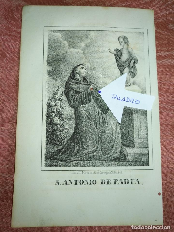 GRABADO ORIGINAL RELIGIOSO AÑO 1857 - LIT. DE J.J. MARTINEZ DESENGAÑO 10 MADRID SAN ANTONIO DE PADUA (Arte - Arte Religioso - Grabados)