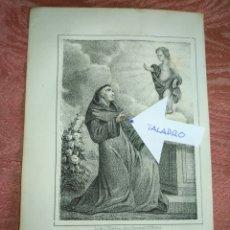 Arte: GRABADO ORIGINAL RELIGIOSO AÑO 1857 - LIT. DE J.J. MARTINEZ DESENGAÑO 10 MADRID SAN ANTONIO DE PADUA. Lote 176289000
