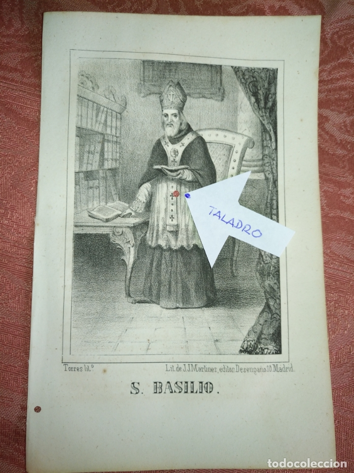 GRABADO ORIGINAL RELIGIOSO AÑO 1857 - LIT. DE J.J. MARTINEZ DESENGAÑO 10 MADRID SAN BASILIO (Arte - Arte Religioso - Grabados)