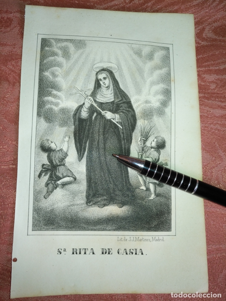 GRABADO ORIGINAL RELIGIOSO AÑO 1857 - LIT. DE J.J. MARTINEZ DESENGAÑO 10 MADRID SANTA RITA DE CASIA (Arte - Arte Religioso - Grabados)