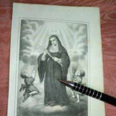 Arte: GRABADO ORIGINAL RELIGIOSO AÑO 1857 - LIT. DE J.J. MARTINEZ DESENGAÑO 10 MADRID SANTA RITA DE CASIA. Lote 176289150