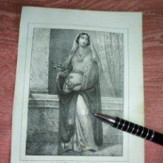 Arte: GRABADO ORIGINAL RELIGIOSO AÑO 1857 - LIT. DE J.J. MARTINEZ DESENGAÑO 10 MADRID SANTA CLOTILDE. Lote 176291379