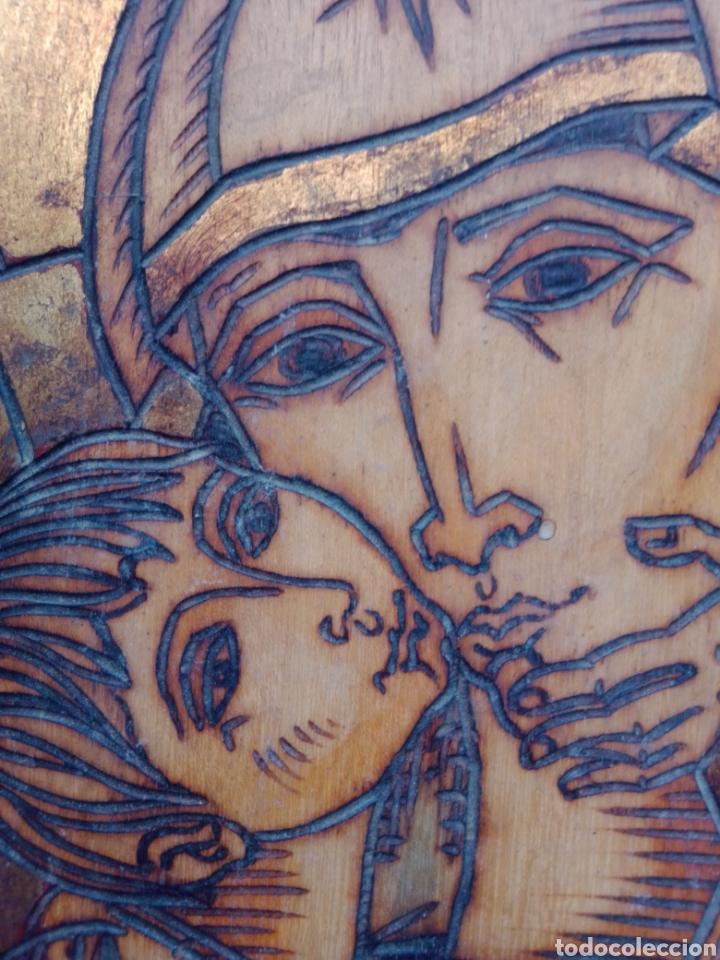 BONITO RETABLO GRABADO DE LA VIRGEN MARIA Y JESUS CON FIRMA DE AUTOR (Arte - Arte Religioso - Retablos)