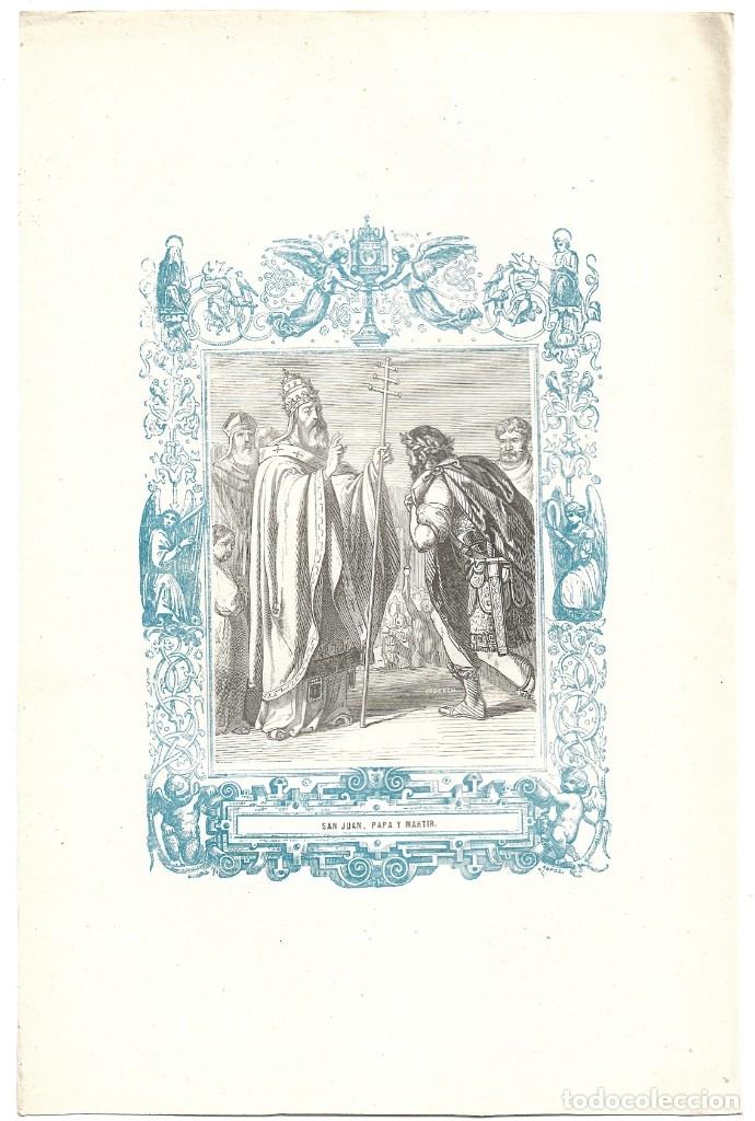 Arte: SAN JUAN, PAPA Y MARTIR - GRABADO DÉCADAS 1850-1860 - BUEN ESTADO - Foto 2 - 176369610