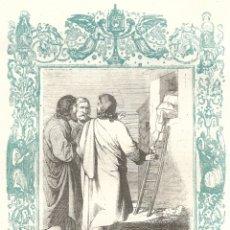 Arte: EL QUE NO ENTRA POR LA PUERTA... - GRABADO DÉCADAS 1850-1860 - BUEN ESTADO. Lote 176371209