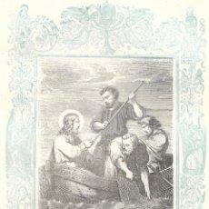 Arte: PESCA MILAGROSA - GRABADO DÉCADAS 1850-1860 - BUEN ESTADO. Lote 176371369