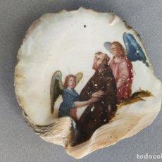 Arte: ÓLEO SOBRE CONCHA CON ESCENA RELIGIOSA SAN FRANCISCO . S. XVII PINTURA NÁCAR. Lote 176408844