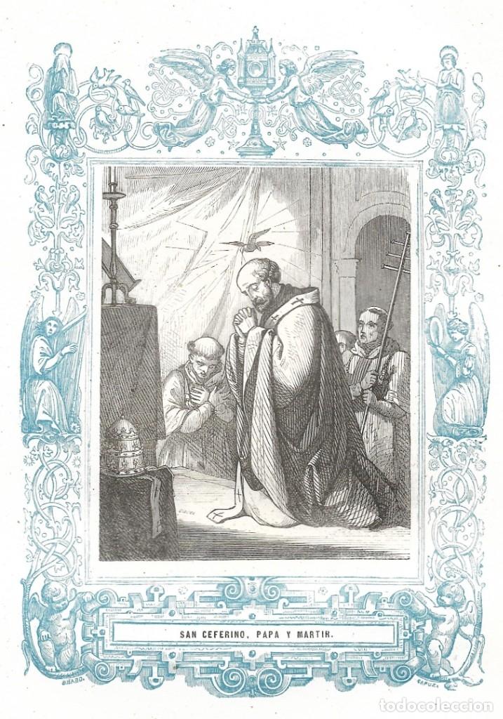 SAN CEFERINO, PAPA Y MARTIR - GRABADO DÉCADAS 1850-1860 - BUEN ESTADO (Arte - Arte Religioso - Grabados)