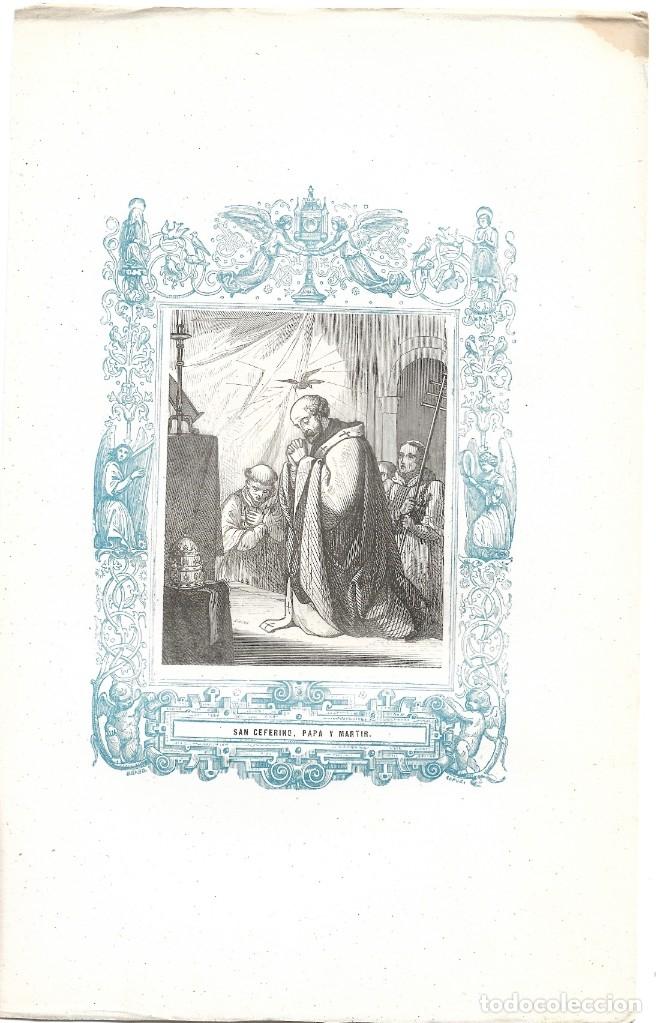 Arte: SAN CEFERINO, PAPA Y MARTIR - GRABADO DÉCADAS 1850-1860 - BUEN ESTADO - Foto 2 - 176432268