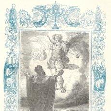 Arte: LA APARICIÓN DE SAN MIGUEL, ARCÁNGEL - GRABADO DÉCADAS 1850-1860 - BUEN ESTADO. Lote 176434617