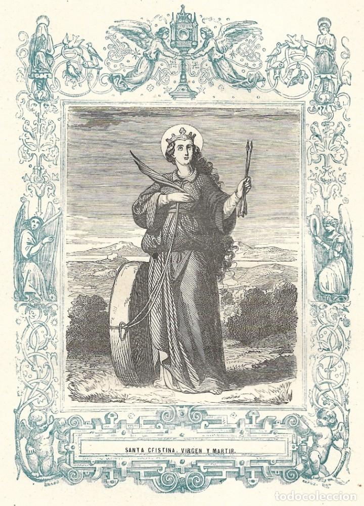 SANTA CRISTINA, VIRGEN Y MARTIR - GRABADO DÉCADAS 1850-1860 - BUEN ESTADO (Arte - Arte Religioso - Grabados)