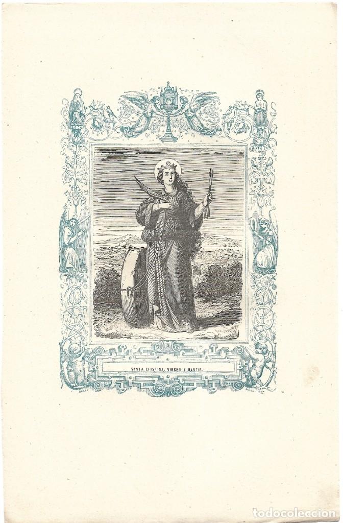 Arte: SANTA CRISTINA, VIRGEN Y MARTIR - GRABADO DÉCADAS 1850-1860 - BUEN ESTADO - Foto 2 - 176436524