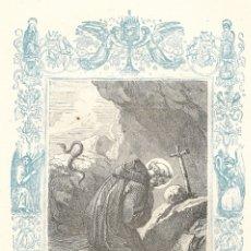 Arte: SAN PEDRO CELESTINO, PAPA Y CONFESOR - GRABADO DÉCADAS 1850-1860 - BUEN ESTADO. Lote 176437080