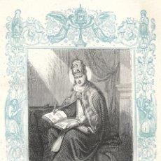 Arte: SAN GREGORIO III, PAPA Y CONFESOR - GRABADO DÉCADAS 1850-1860 - BUEN ESTADO. Lote 176437477
