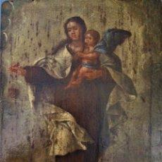 Arte: PINTURA ÓLEO SOBRE TABLA DE LA VIRGEN DEL CARMEN.SIGLO XVII-XVIII.CARMELITAS.. Lote 176446159