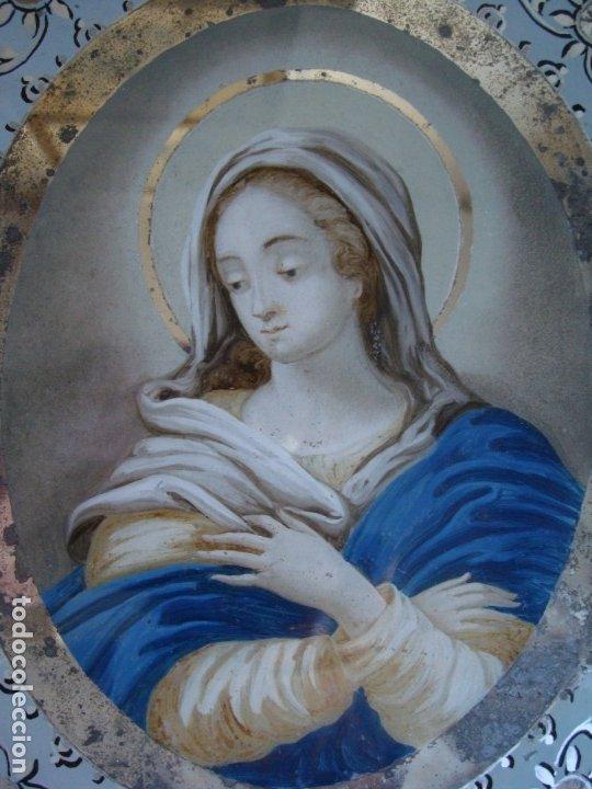 Arte: PINTURA AL ÓLEO BAJO CRISTAL,VIRGEN INMACULADA CONCEPCIÓN.SIGLO XVIII.MARCO TALLADO MADERA Y ESPEJOS - Foto 5 - 176447618