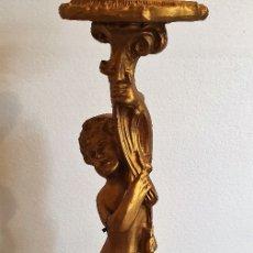 Arte: PEDESTAL ANGEL TALLA EN MADERA. Lote 176449933