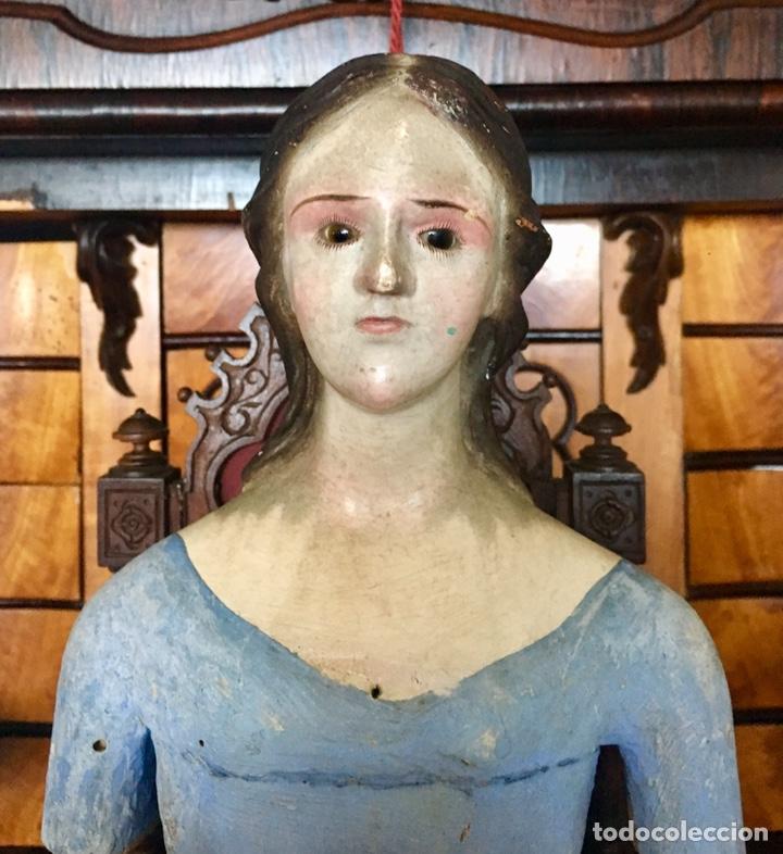 Arte: Virgen madera. Cap i pota. Sentada, con trono. S.XIX 42cm - Foto 3 - 176472684
