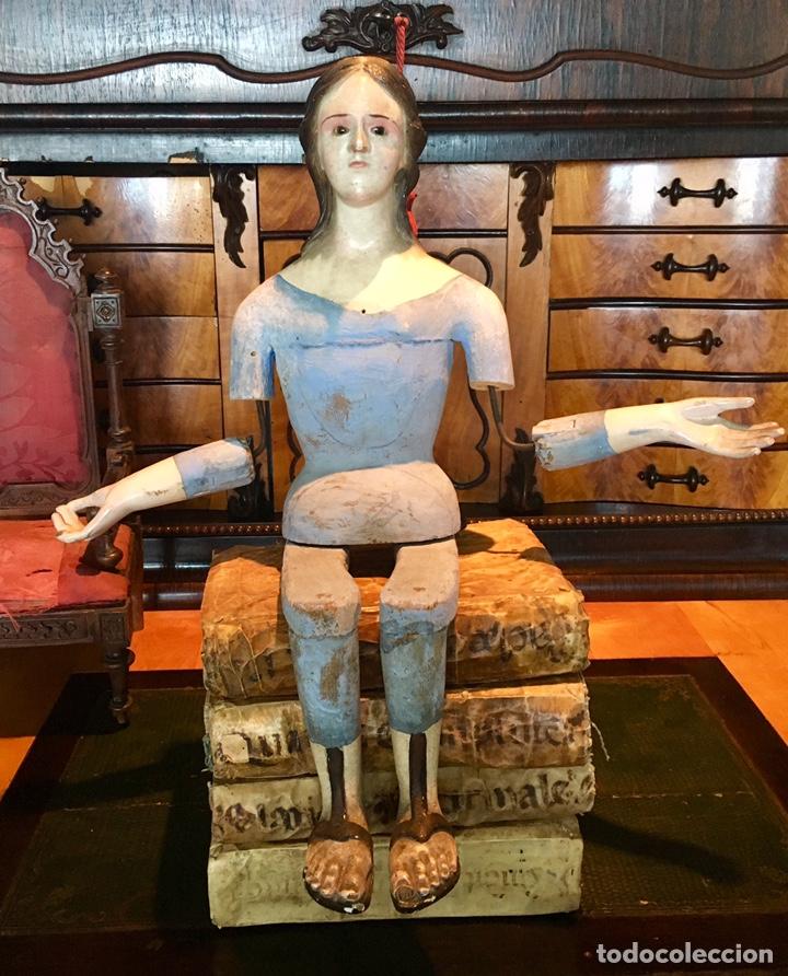 Arte: Virgen madera. Cap i pota. Sentada, con trono. S.XIX 42cm - Foto 4 - 176472684