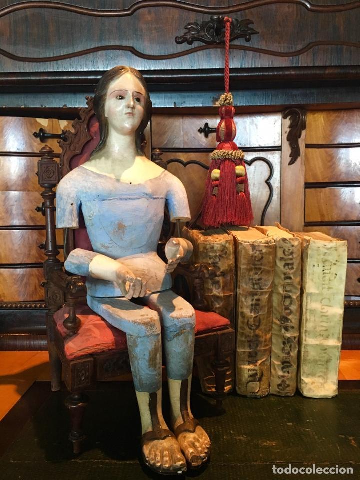Arte: Virgen madera. Cap i pota. Sentada, con trono. S.XIX 42cm - Foto 5 - 176472684