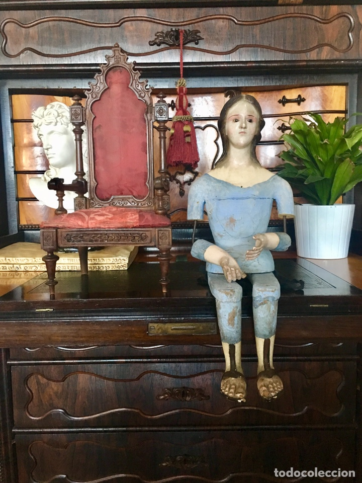 Arte: Virgen madera. Cap i pota. Sentada, con trono. S.XIX 42cm - Foto 2 - 176472684