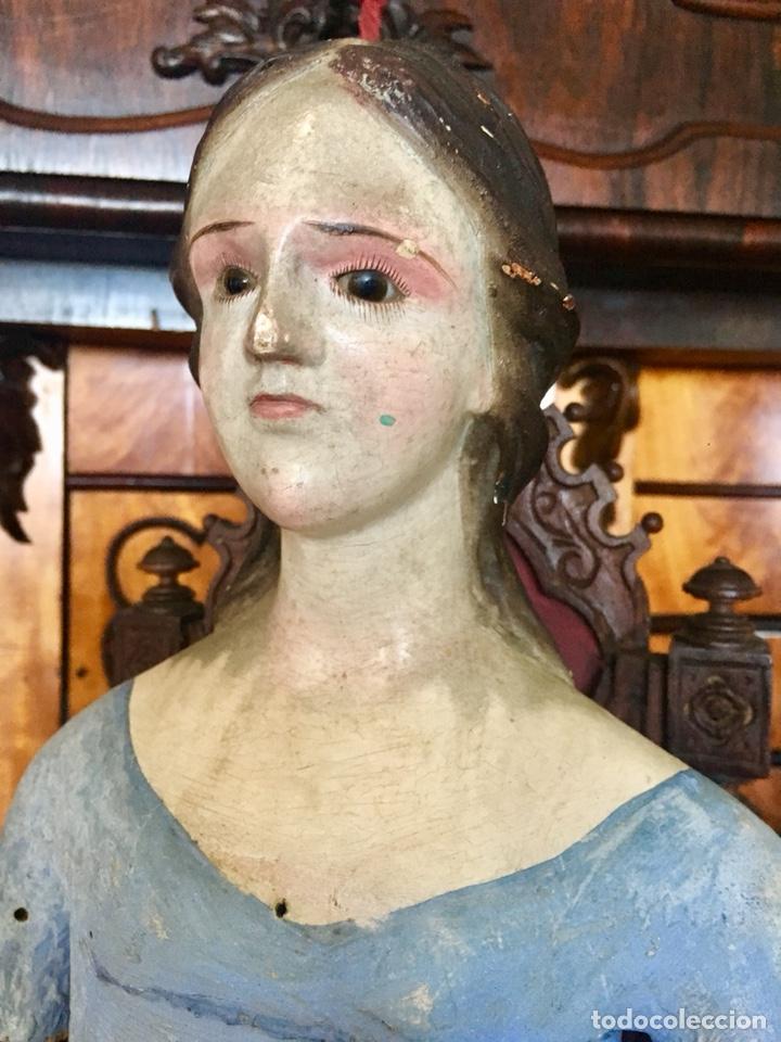 Arte: Virgen madera. Cap i pota. Sentada, con trono. S.XIX 42cm - Foto 6 - 176472684