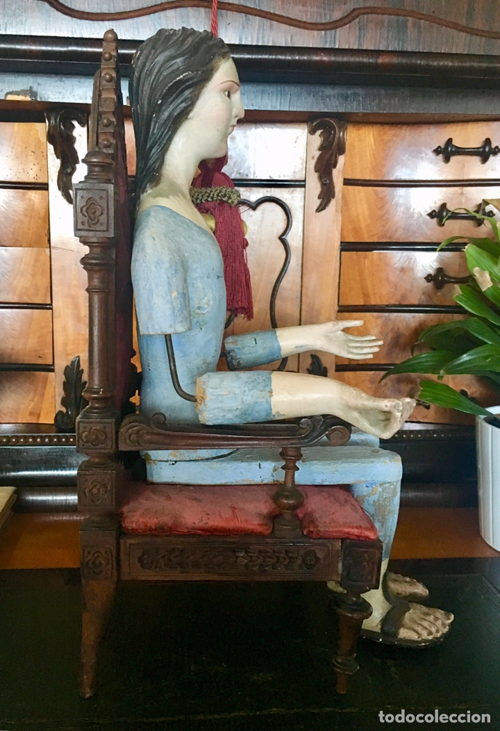Arte: Virgen madera. Cap i pota. Sentada, con trono. S.XIX 42cm - Foto 9 - 176472684
