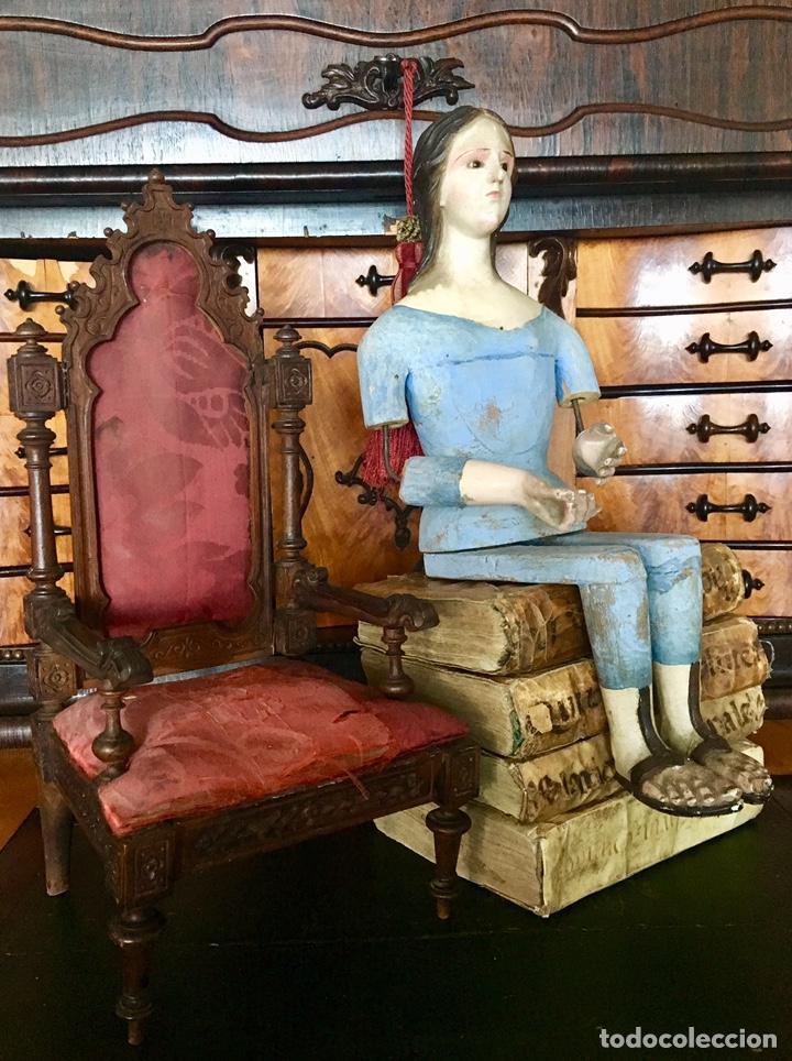Arte: Virgen madera. Cap i pota. Sentada, con trono. S.XIX 42cm - Foto 11 - 176472684