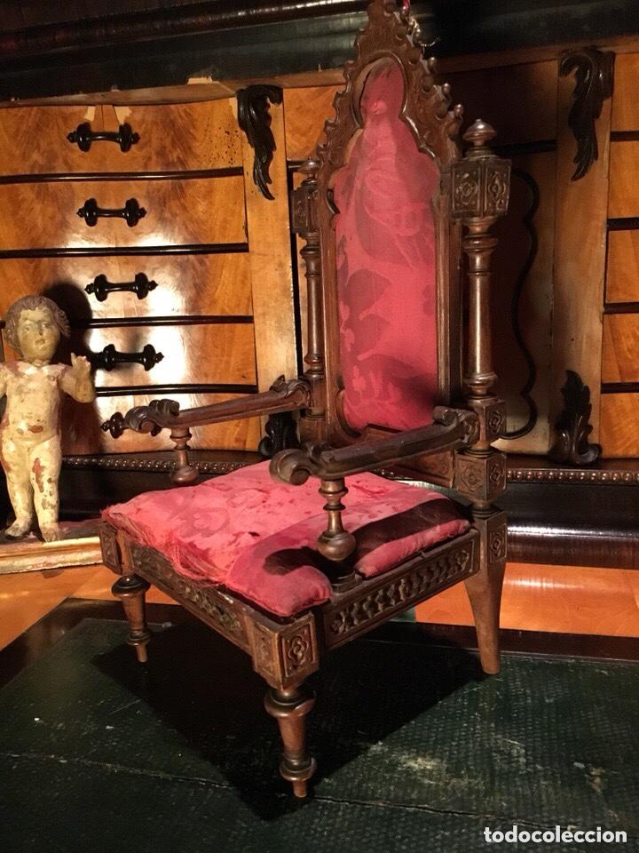 Arte: Virgen madera. Cap i pota. Sentada, con trono. S.XIX 42cm - Foto 12 - 176472684