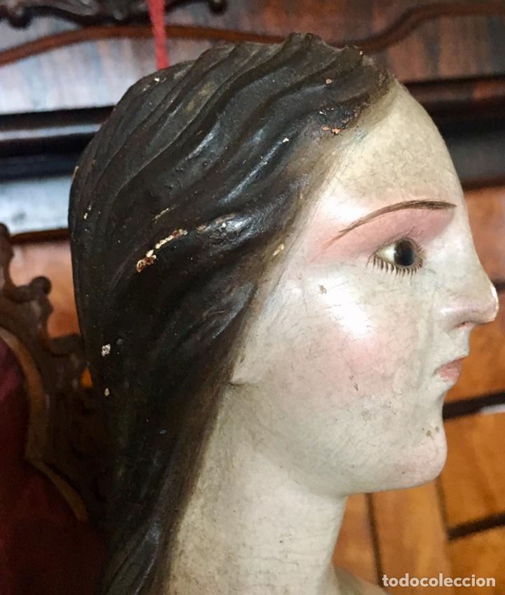 Arte: Virgen madera. Cap i pota. Sentada, con trono. S.XIX 42cm - Foto 14 - 176472684