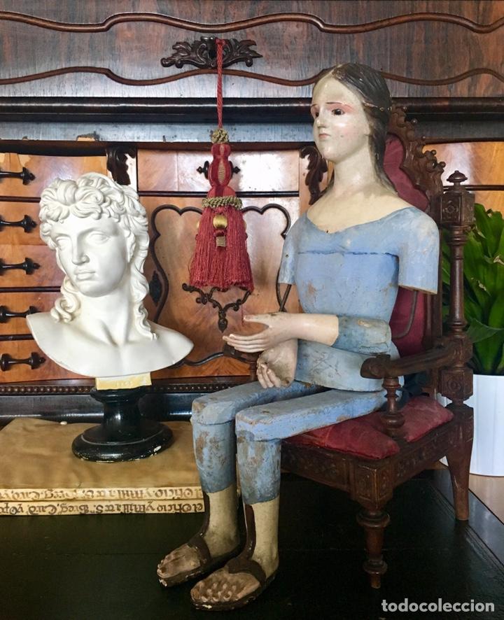 Arte: Virgen madera. Cap i pota. Sentada, con trono. S.XIX 42cm - Foto 15 - 176472684