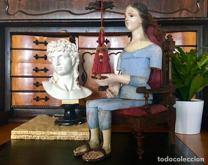 VIRGEN MADERA. CAP I POTA. SENTADA, CON TRONO. S.XIX 42CM (Arte - Arte Religioso - Escultura)