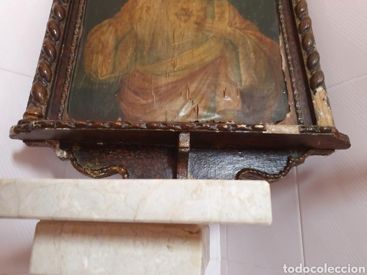 Arte: ANTIGUO MARCO CON FORMA DE CAPILLA LLEVA LITOGRAFÍA DEL SAGRADO CORAZÓN DE JESÚS - Foto 2 - 176484695