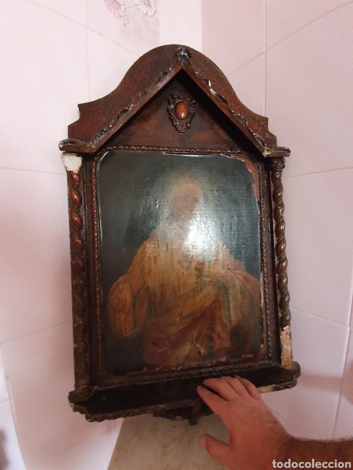 Arte: ANTIGUO MARCO CON FORMA DE CAPILLA LLEVA LITOGRAFÍA DEL SAGRADO CORAZÓN DE JESÚS - Foto 8 - 176484695