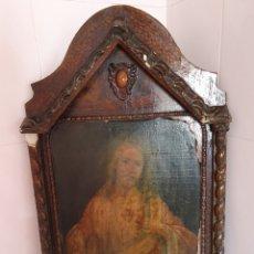 Arte: ANTIGUO MARCO CON FORMA DE CAPILLA LLEVA LITOGRAFÍA DEL SAGRADO CORAZÓN DE JESÚS. Lote 176484695