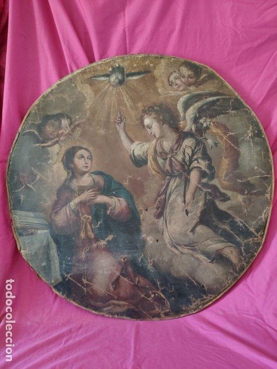 ÓLEO SOBRE LIENZO, ANUNCIACIÓN, SIGLO XVII-XVIII - 1000-039 (Arte - Arte Religioso - Pintura Religiosa - Oleo)
