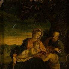 Arte: ÓLEO S/COBRE -SAGRADA FAMILIA CON SAN JUANITO-.. ESCUELA ITALIANA S. XVII. DIM.- 31X25.5 CMS.. Lote 176693079