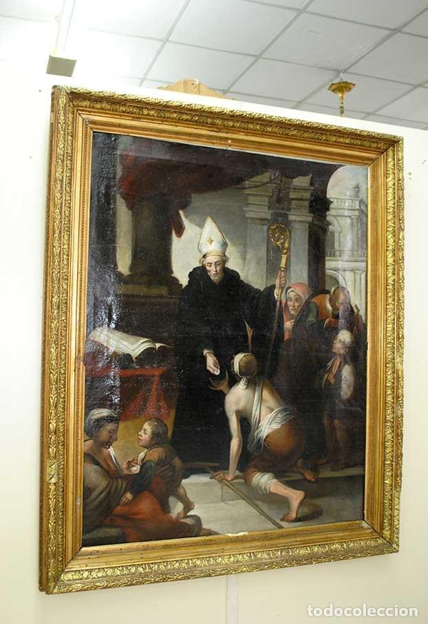 ÓLEO SOBRE LIENZO SANTO TOMÁS DE VILLANUEVA REPARTIENDO LIMOSNAS (Arte - Arte Religioso - Pintura Religiosa - Oleo)