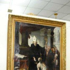 Arte: ÓLEO SOBRE LIENZO SANTO TOMÁS DE VILLANUEVA REPARTIENDO LIMOSNAS. Lote 176722375