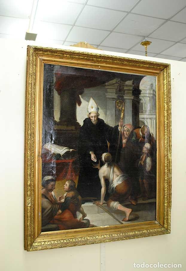 Arte: ÓLEO SOBRE LIENZO SANTO TOMÁS DE VILLANUEVA REPARTIENDO LIMOSNAS - Foto 2 - 176722375