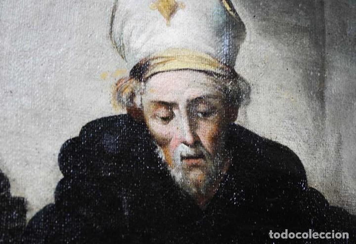 Arte: ÓLEO SOBRE LIENZO SANTO TOMÁS DE VILLANUEVA REPARTIENDO LIMOSNAS - Foto 3 - 176722375
