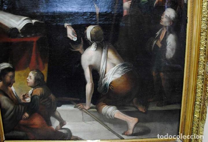 Arte: ÓLEO SOBRE LIENZO SANTO TOMÁS DE VILLANUEVA REPARTIENDO LIMOSNAS - Foto 5 - 176722375